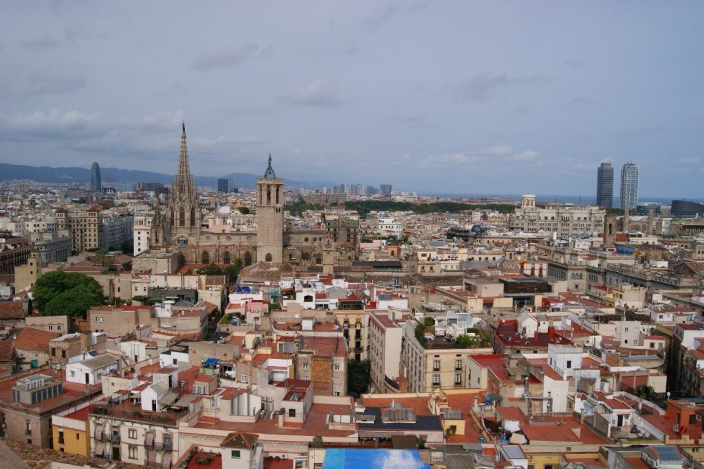 view over Barcelona from the bell tower of Santa Maria del Pi