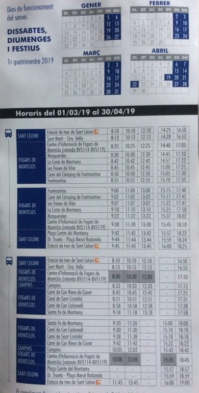 March and April 2019 schedule for the bus from Sant Celoni into the Park de Montseny