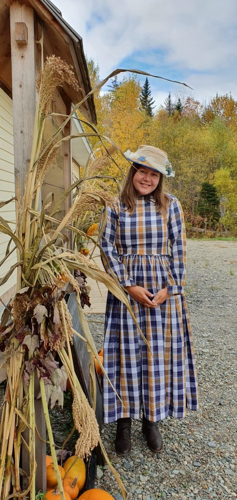 Me in q9th century clothes at Kings Landing historical village in New Brunswick