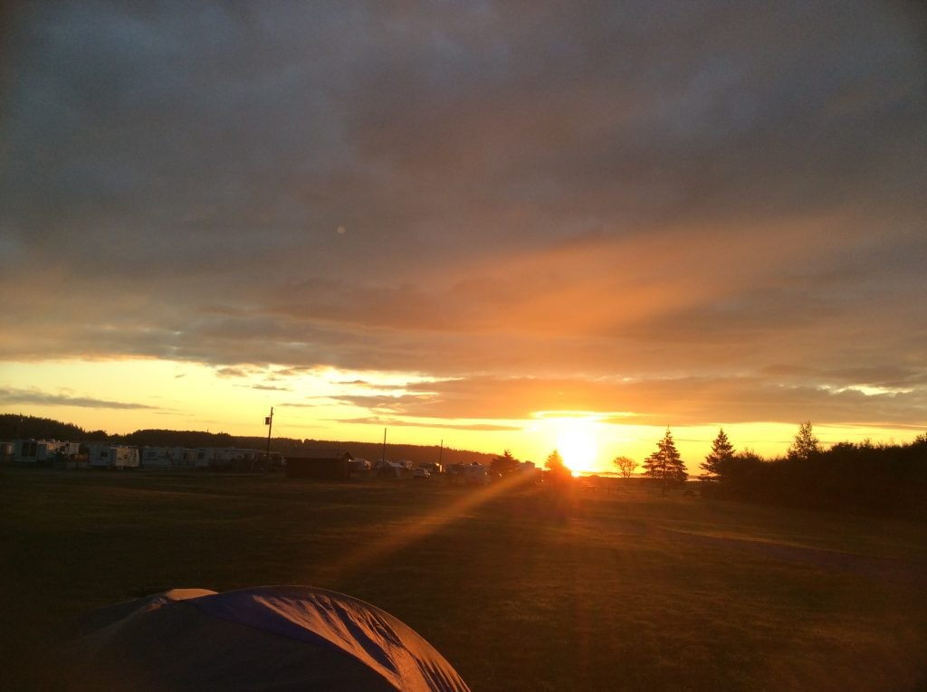 Sunrise in St Martin, NB during a camping trip