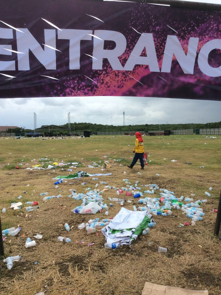Trash on a field in Cebu city after Sinulog festival