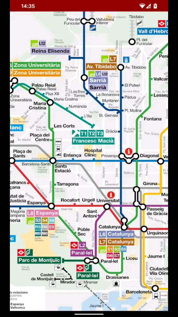 metro map of central Barcelona