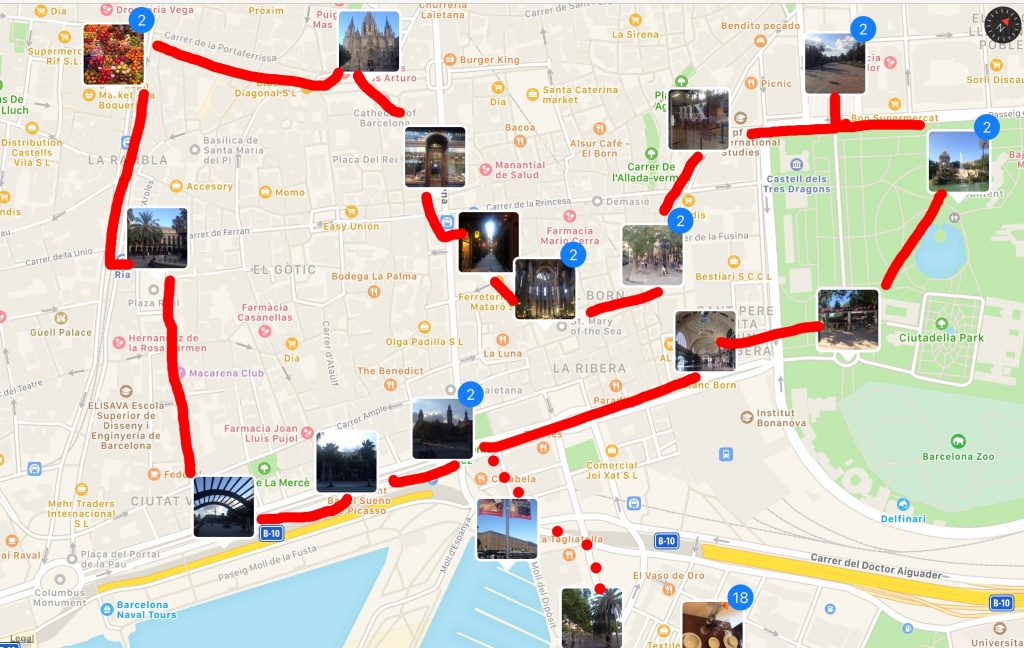 selfguided Barcelona walking tour map