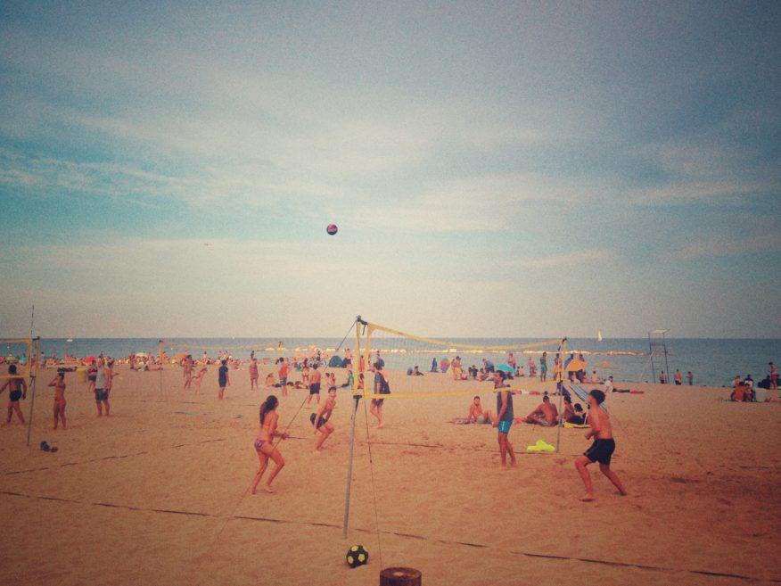 volleyball on the beach in Barcelona - a fun way to stay fit while traveling