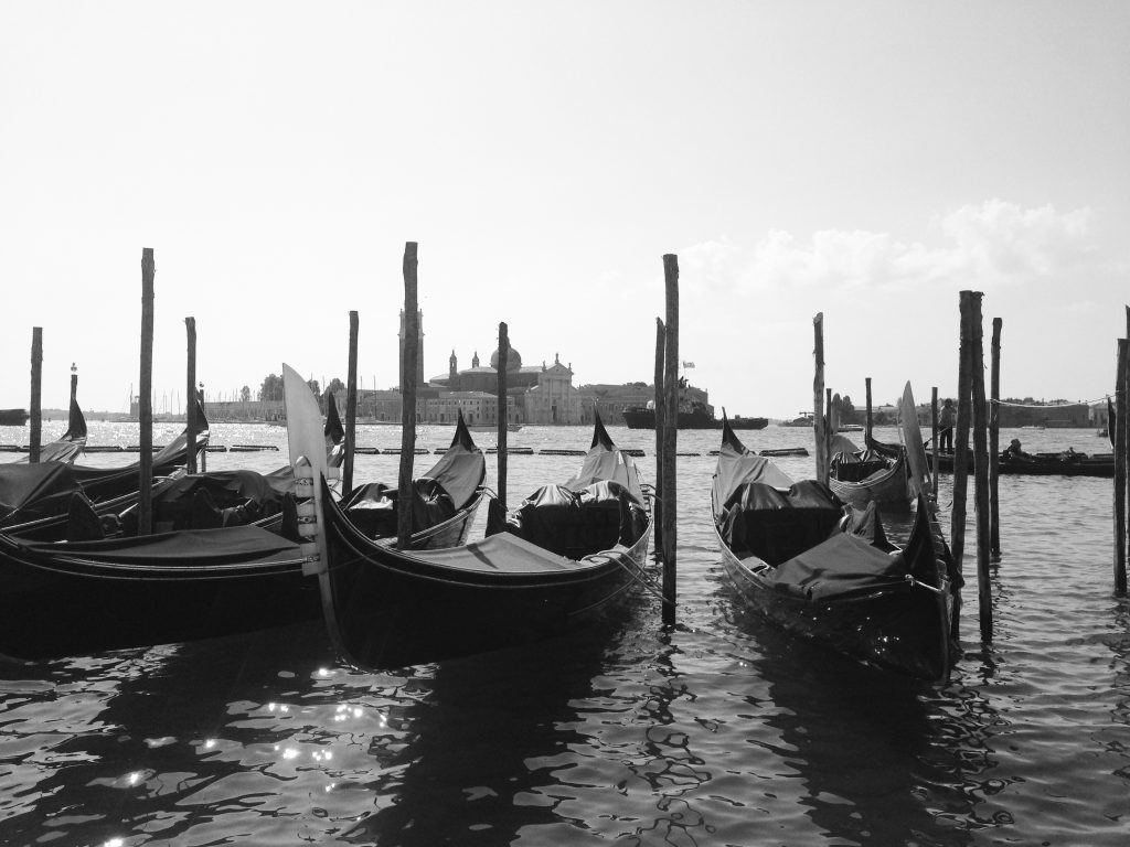 Gondolas near St Mark's Square in Venice, Italy